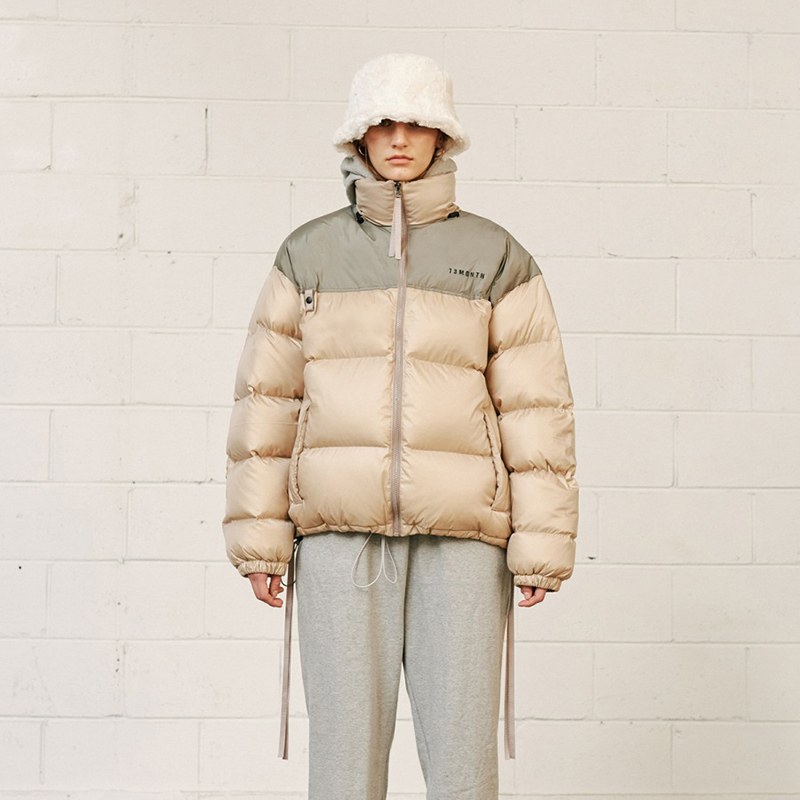 【13MONTH】DUCK DOWN PADDED JACKET (BEIGE) ダックダウンパッドジャケット ベージュ
