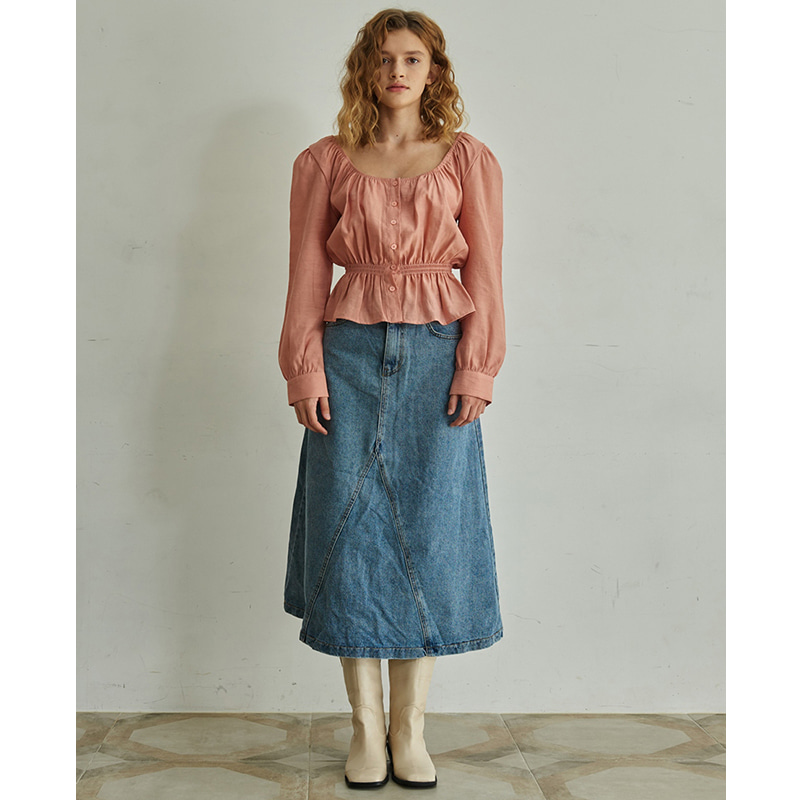 【TMO BY 13MONTH】MIDI DENIM SKIRT (BLUE)