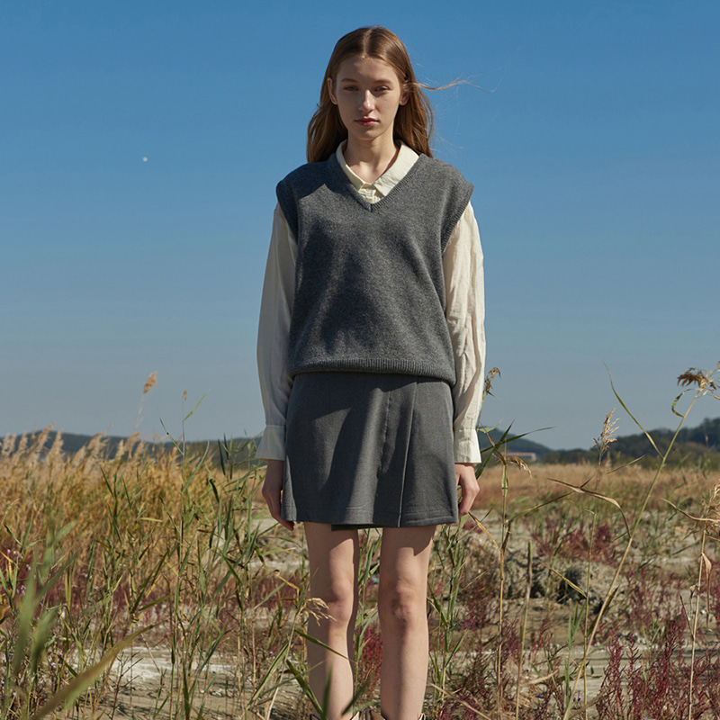 【TMO BY 13MONTH】MINI LAP SKIRT (GRAY)