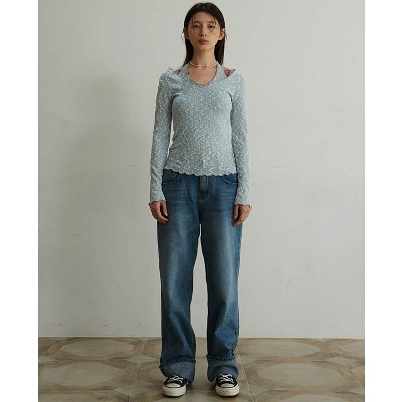 【TMO BY 13MONTH】WIDE LEG JEANS (BLUE)