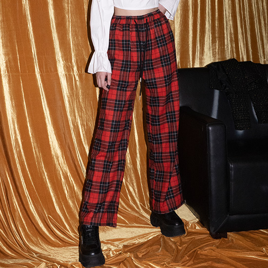 【B ABLE TWO】Stacy Check Pants red ステイシーチェックパンツ レッド