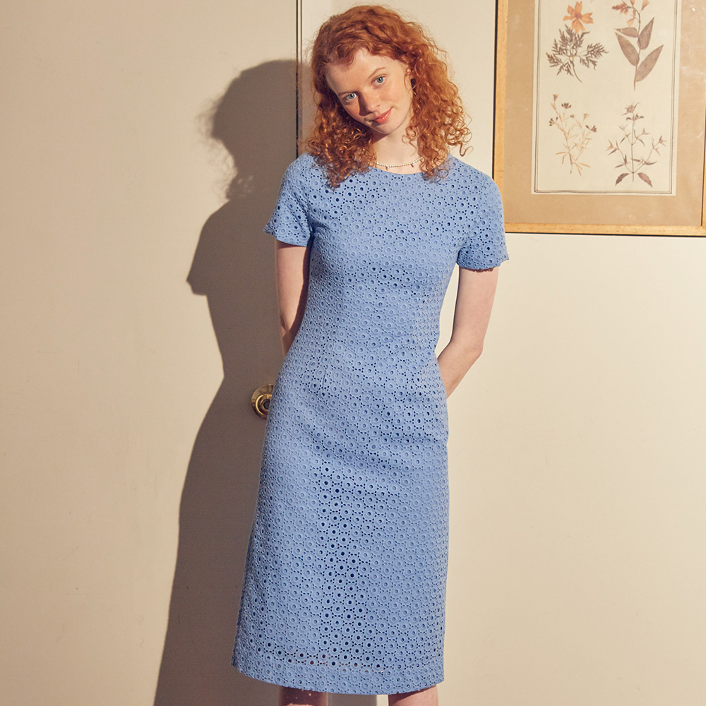 【SALON DE YOHN】LACE MIDI DRESS BLUE レースミディドレス ブルー