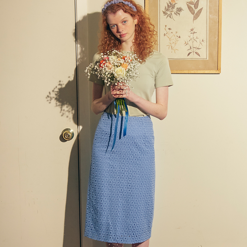 【SALON DE YOHN】LACE MIDI SKIRT BLUE レースミディスカート ブルー